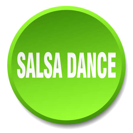 salsa dance: salsa dance green round flat isolated push button