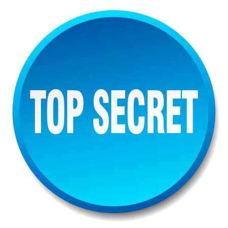 top secret: top secret blue round flat isolated push button