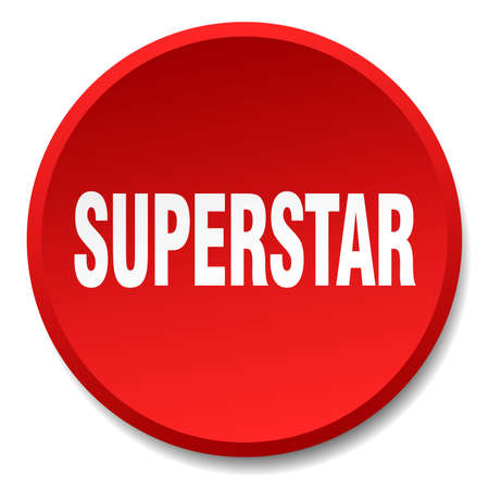 superstar: superstar red round flat isolated push button