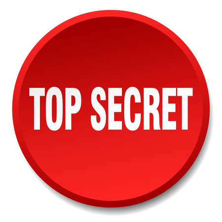 top secret: top secret red round flat isolated push button Illustration