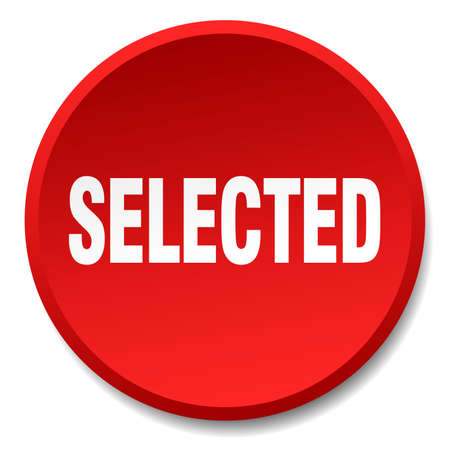 selected: selected red round flat isolated push button