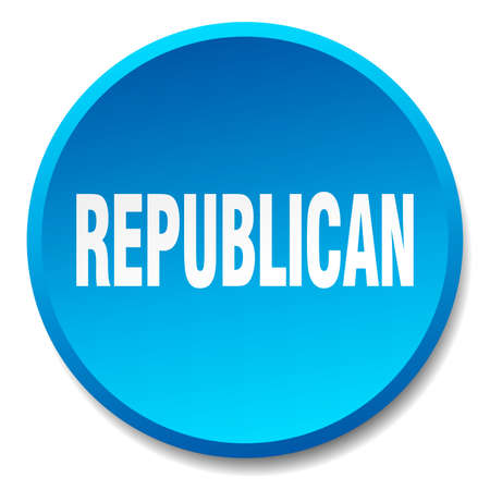republican: republican blue round flat isolated push button