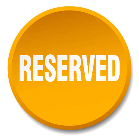 reserved: reserved orange round flat isolated push button