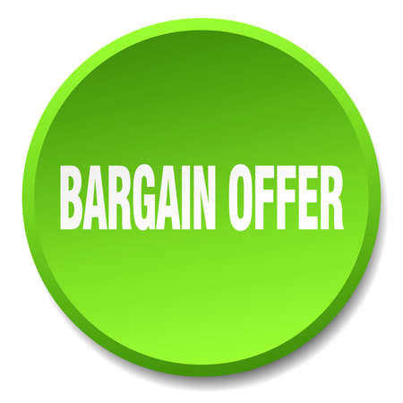 bargain: bargain offer green round flat isolated push button