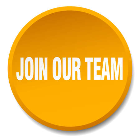 join our team: join our team orange round flat isolated push button Illustration