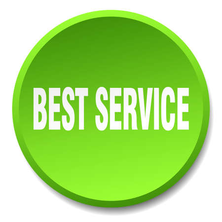 best service: best service green round flat isolated push button