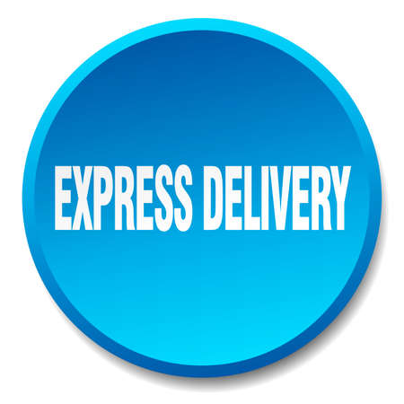express delivery: express delivery blue round flat isolated push button