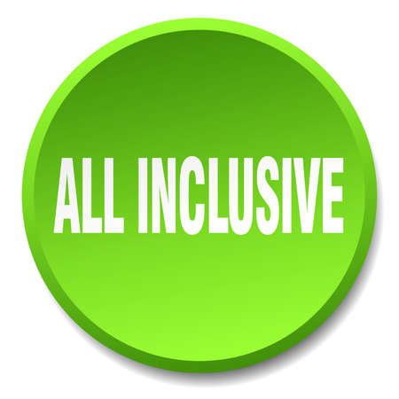 inclusive: all inclusive green round flat isolated push button Illustration