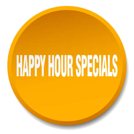 specials: happy hour specials orange round flat isolated push button