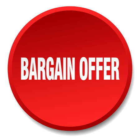 bargains: bargain offer red round flat isolated push button