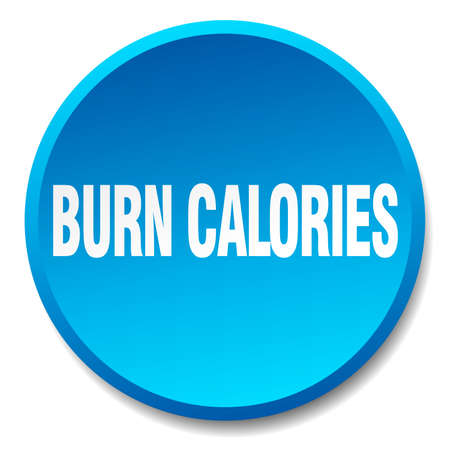 burn: burn calories blue round flat isolated push button