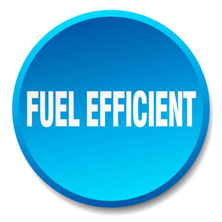 efficient: fuel efficient blue round flat isolated push button Illustration
