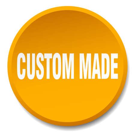 custom made: custom made orange round flat isolated push button Illustration