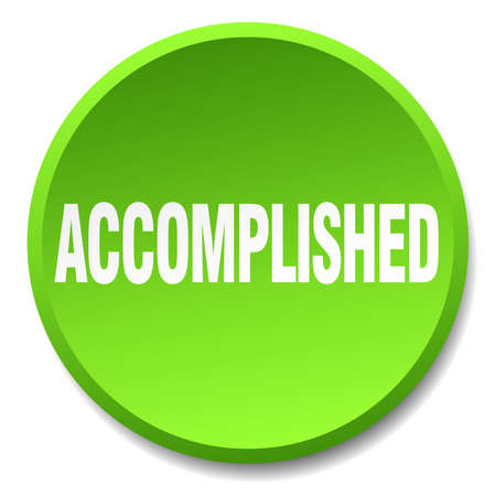 accomplish: accomplished green round flat isolated push button
