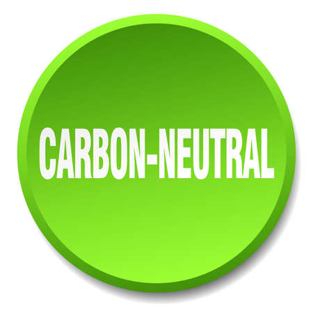 co2 neutral: carbon-neutral green round flat isolated push button Illustration
