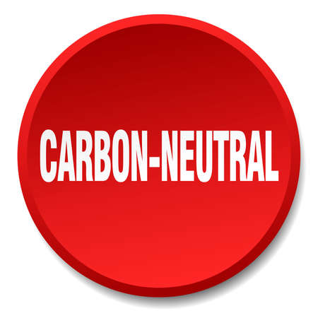 co2 neutral: carbon-neutral red round flat isolated push button Illustration