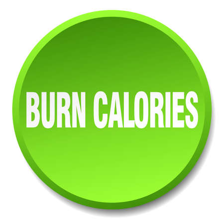 calories: burn calories green round flat isolated push button