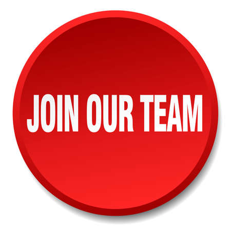 join our team: join our team red round flat isolated push button