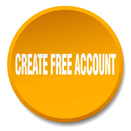 create: create free account orange round flat isolated push button