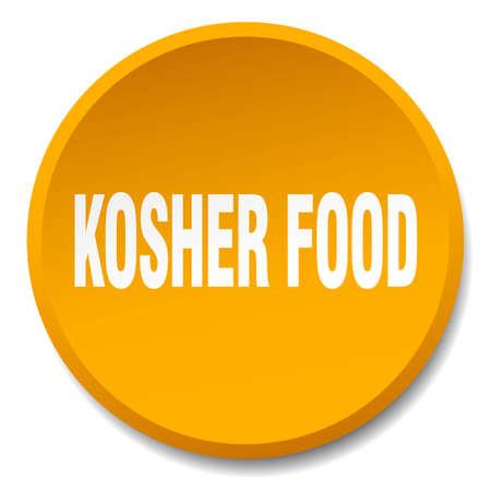 kosher: kosher food orange round flat isolated push button