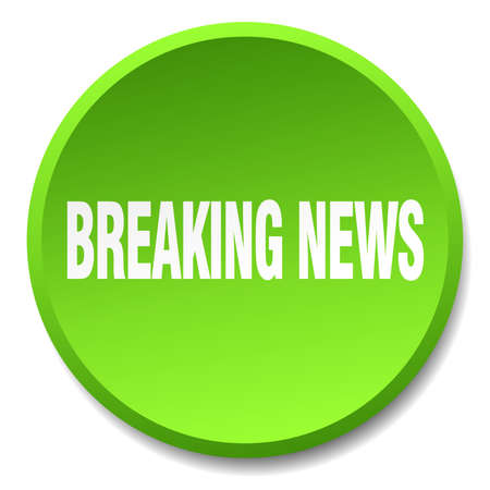 breaking news: breaking news green round flat isolated push button Illustration