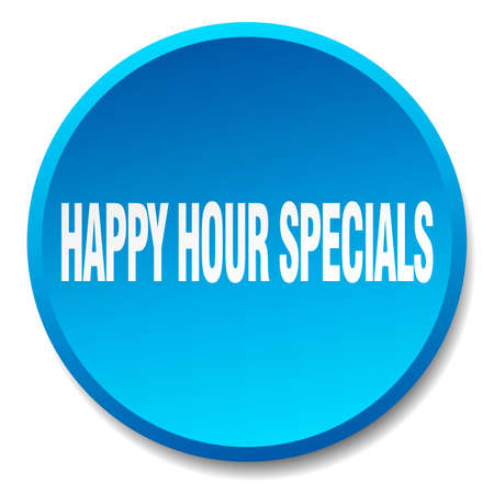 specials: happy hour specials blue round flat isolated push button