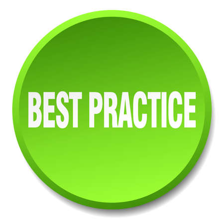 best practice: best practice green round flat isolated push button Illustration