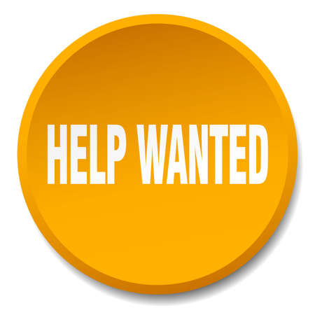 help wanted sign: help wanted orange round flat isolated push button Illustration
