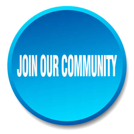 our: join our community blue round flat isolated push button