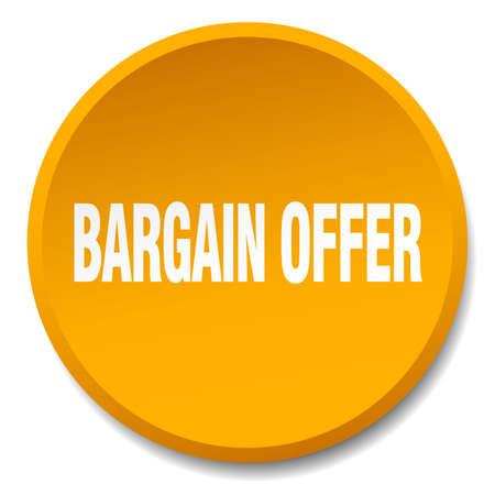 bargaining: bargain offer orange round flat isolated push button