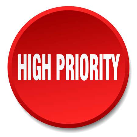 haute priorité rond rouge plat bouton poussoir isolé