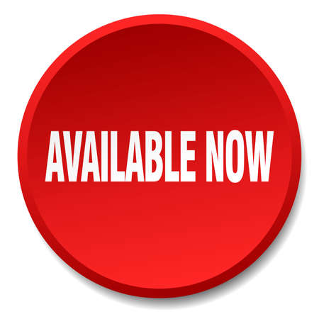 available: available now red round flat isolated push button