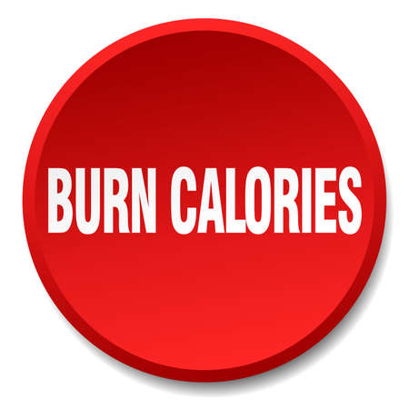 burn: burn calories red round flat isolated push button