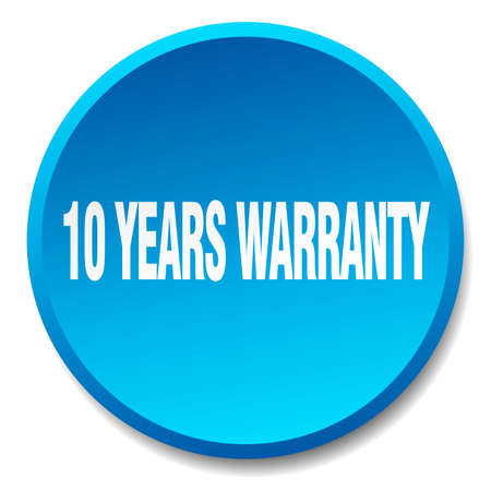 10 years: 10 years warranty blue round flat isolated push button