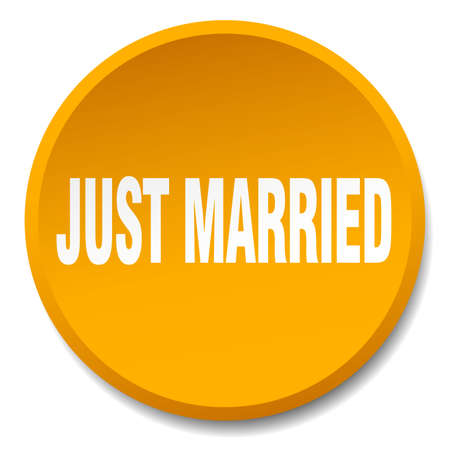 just: just married orange round flat isolated push button Illustration