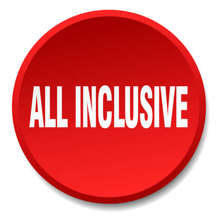 inclusive: all inclusive red round flat isolated push button