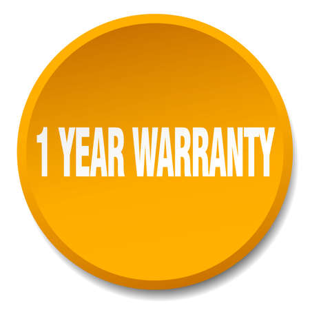 1 year warranty: 1 year warranty orange round flat isolated push button Illustration