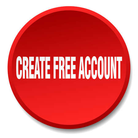create: create free account red round flat isolated push button Illustration