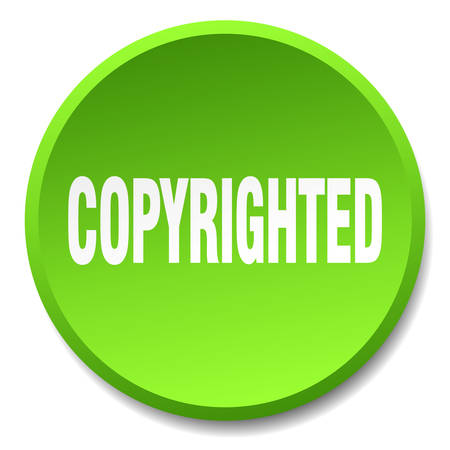 copyrighted: copyrighted green round flat isolated push button