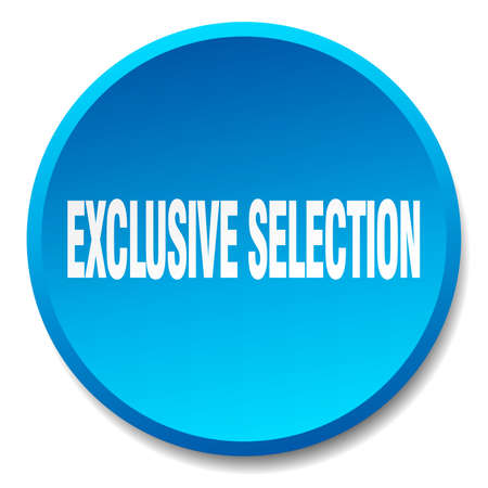 exclusive: exclusive selection blue round flat isolated push button