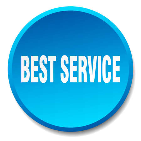 best service: best service blue round flat isolated push button
