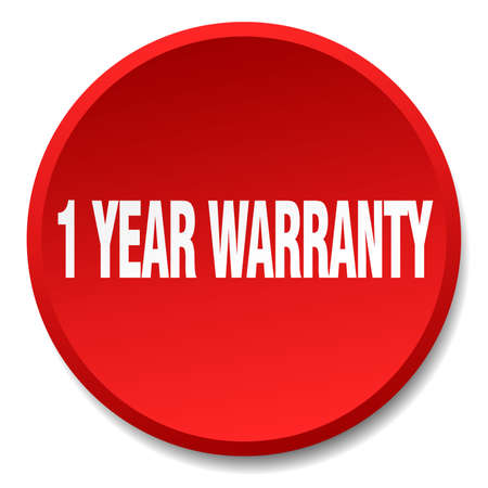 1 year: 1 year warranty red round flat isolated push button Illustration