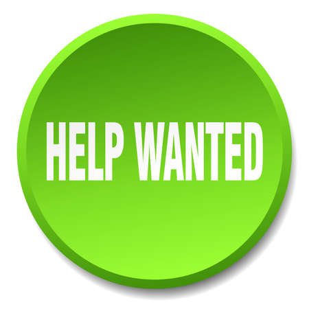 help wanted sign: help wanted green round flat isolated push button Illustration