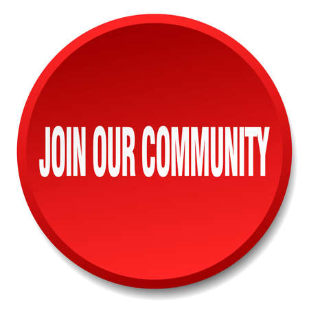 our: join our community red round flat isolated push button