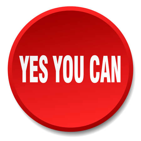 can yes you can: yes you can red round flat isolated push button
