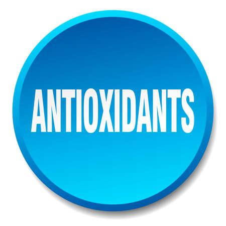 antioxidants: antioxidants blue round flat isolated push button