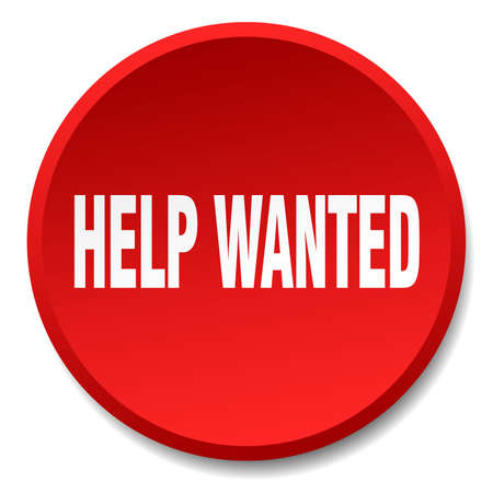 help wanted sign: help wanted red round flat isolated push button