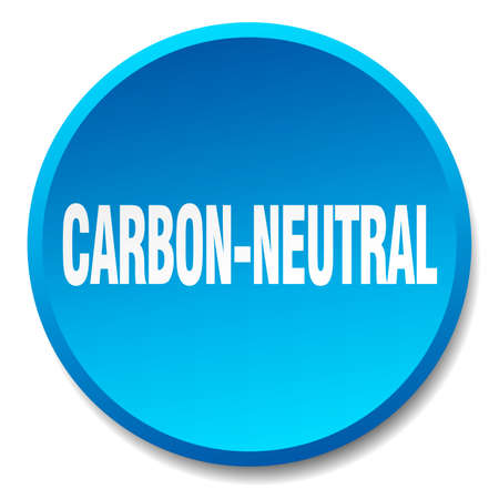 co2 neutral: carbon-neutral blue round flat isolated push button Illustration