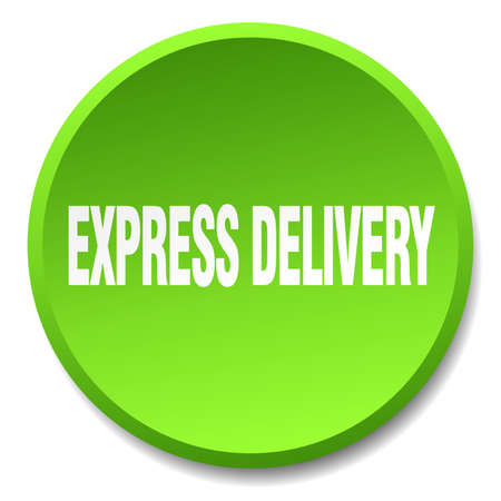 express delivery: express delivery green round flat isolated push button Illustration