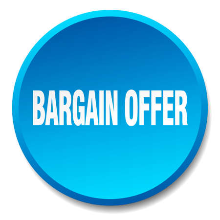 bargain: bargain offer blue round flat isolated push button